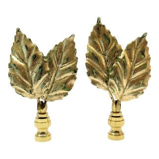 Bright Gilt Tole Leaf Finials by C. Damien Fox, a Pair. For Sale