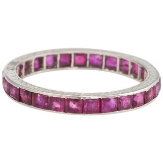 Antique Deco Ruby Eternity Ring Platinum Vintage Jewelry Heirloom For Sale