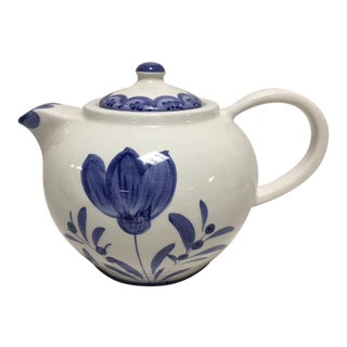 Italian Blue & White Hand Painted Tea Pot For Sale