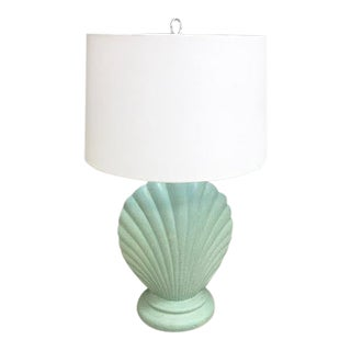 1980s Green Scallop Shell Table Lamp For Sale