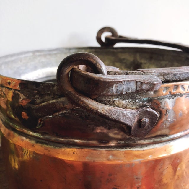Antique French Copper Pot With Hand-Forged Iron Handle For Sale - Image 4 of 7