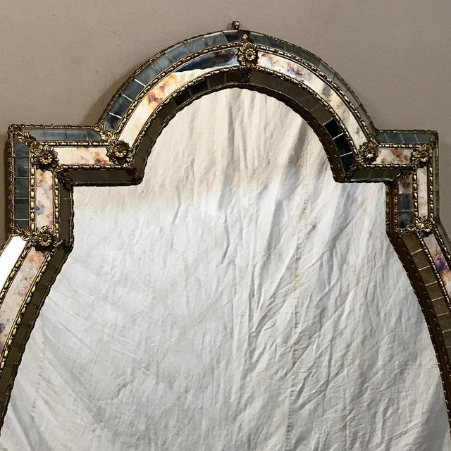 Brass Mid-Century Venetian Style Mirror With Gilt Brass Accents For Sale - Image 7 of 12