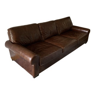 Pottery Barn Turner Roll Arm Leather Sofa For Sale