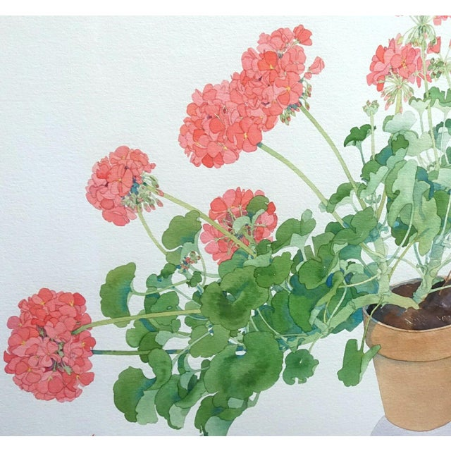 Large Framed Watercolor of Pink and Red Potted Geraniums by Gary Bukovnik For Sale - Image 4 of 13