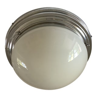 Italian Milk Glass and Chrome Ceiling Mounted Light For Sale