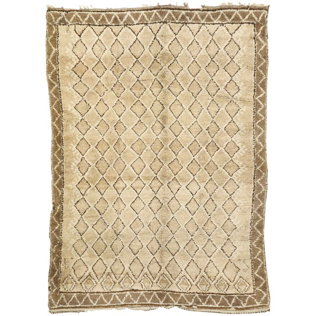 Vintage Berber Moroccan Rug With Earth-Tone Colors - 7'1 X 9'8 For Sale