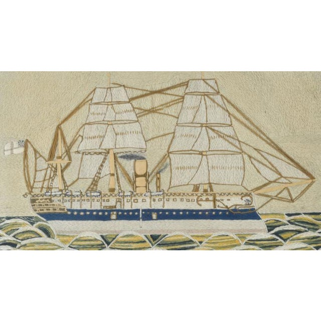 English Sailor's Woolwork Picture of HMS Euphrates - Image 2 of 2