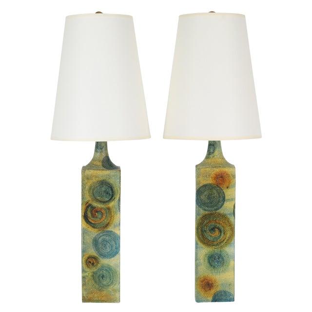 1960's Vintage Marcello Fantoni Ceramic Table Lamps- A Pair For Sale
