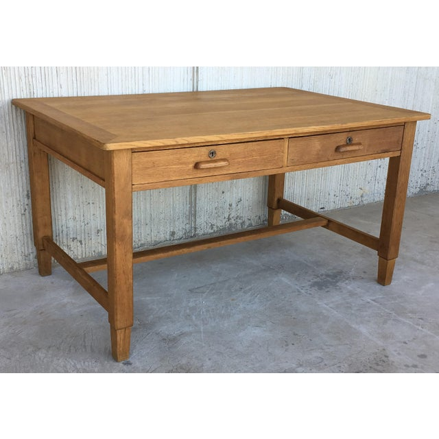 Mid-Century Modern Mid Century Modern Pine Desk With Two Drawers For Sale - Image 3 of 13
