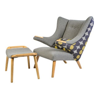 Mid-Century Modern Wegner Arm Chair & Ottoman For Sale