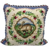 Image of 1960s, Blue and White Needlepoint Pillow With Floral and Rabbit-Hare Motif For Sale