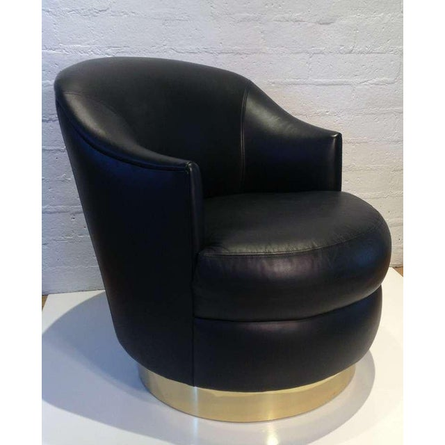 Karl Springer Rich Leather Swivel Chair - Image 6 of 6
