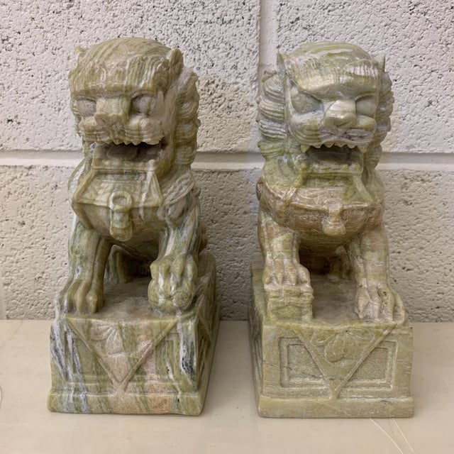 Green Stone Marble Foo Dogs Bookends - a Pair For Sale - Image 13 of 13