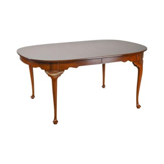 Henkel Harris Solid Cherry Queen Anne Oval Dining Table W/ 3 Leaves