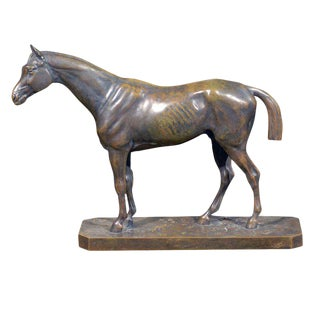 French Bronze Horse Sculpture Signed Vidal from the 19th Century