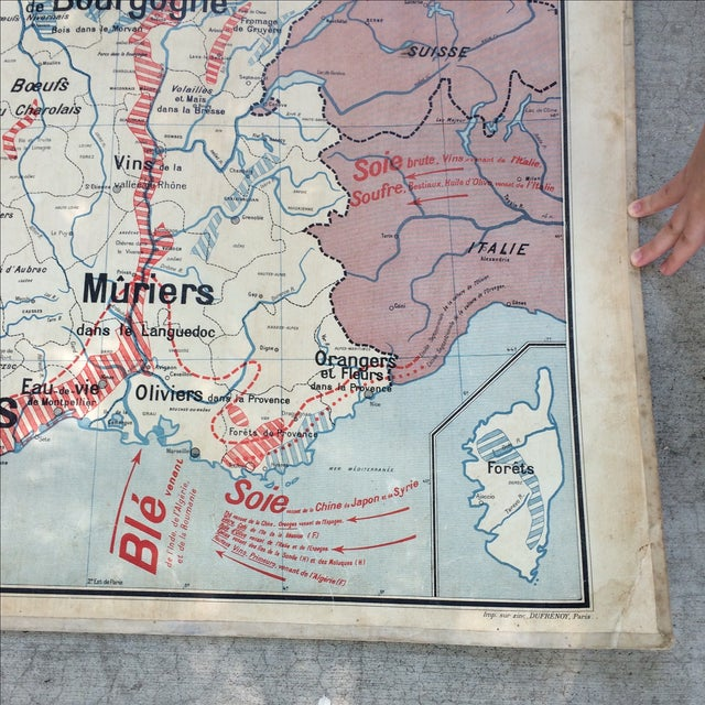 1950s French Two-Sided School Map of France For Sale In Sacramento - Image 6 of 11