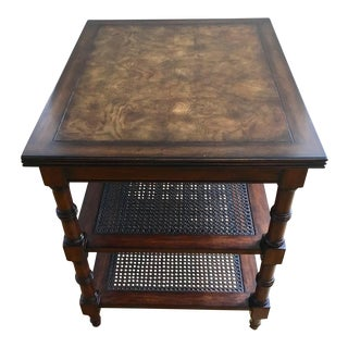 1990s Regency Ethan Allen Cane Brent 3 Tier End/Side Table For Sale