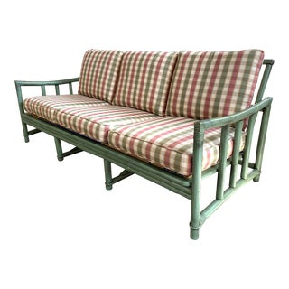 Ficks Reed Rattan Patio Sofa For Sale