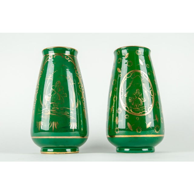 1930s Vintage Italian Green Porcelain Decorative Vases - a Pair For Sale - Image 5 of 11