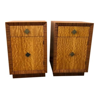 Mid Century Art Deco Night Stands W Movingui Wood Vaneer - a Pair For Sale
