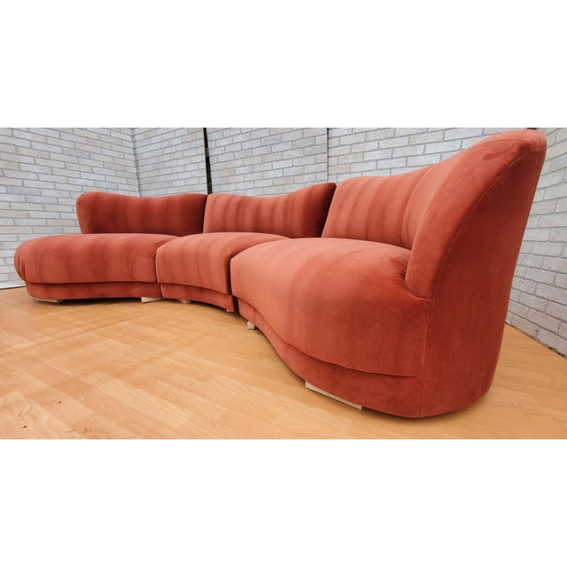 Mid-Century Modern Mid Century Modern Vladimir Kagan for Directional Three Piece Curved Black Sectional Sofa For Sale - Image 3 of 12