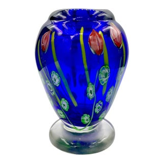 Mid-Century Footed Floral Murrines Cobalt Blue Murano Vase For Sale