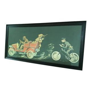 """Vintage Fernand Fernel Lithograph """"La Contravention"""" Framed For Sale"""