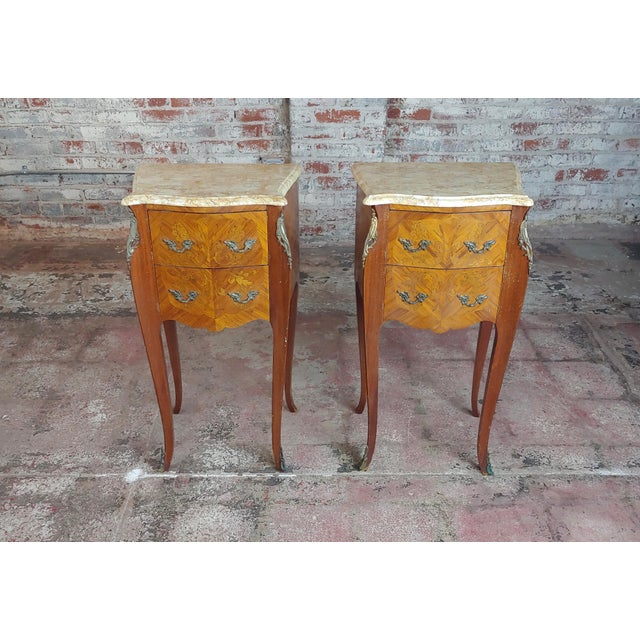 Antique French Marquetry Petit Commodes W/Marble Top - a Pair For Sale - Image 10 of 10