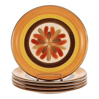 70s Japanese Durastone Plates 'Touche' Pattern, Set of 5 For Sale