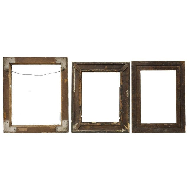 1920s Large Distressed Antique Gold Giltwood Wood and Plaster Art Frames - Set of Three For Sale - Image 5 of 6