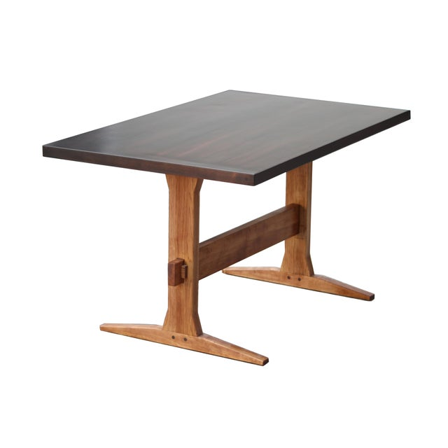 Not Yet Made - Made To Order Rustic Solid Wood Knockdown Farmhouse/Trestle Table in Walnut Stain For Sale - Image 5 of 5
