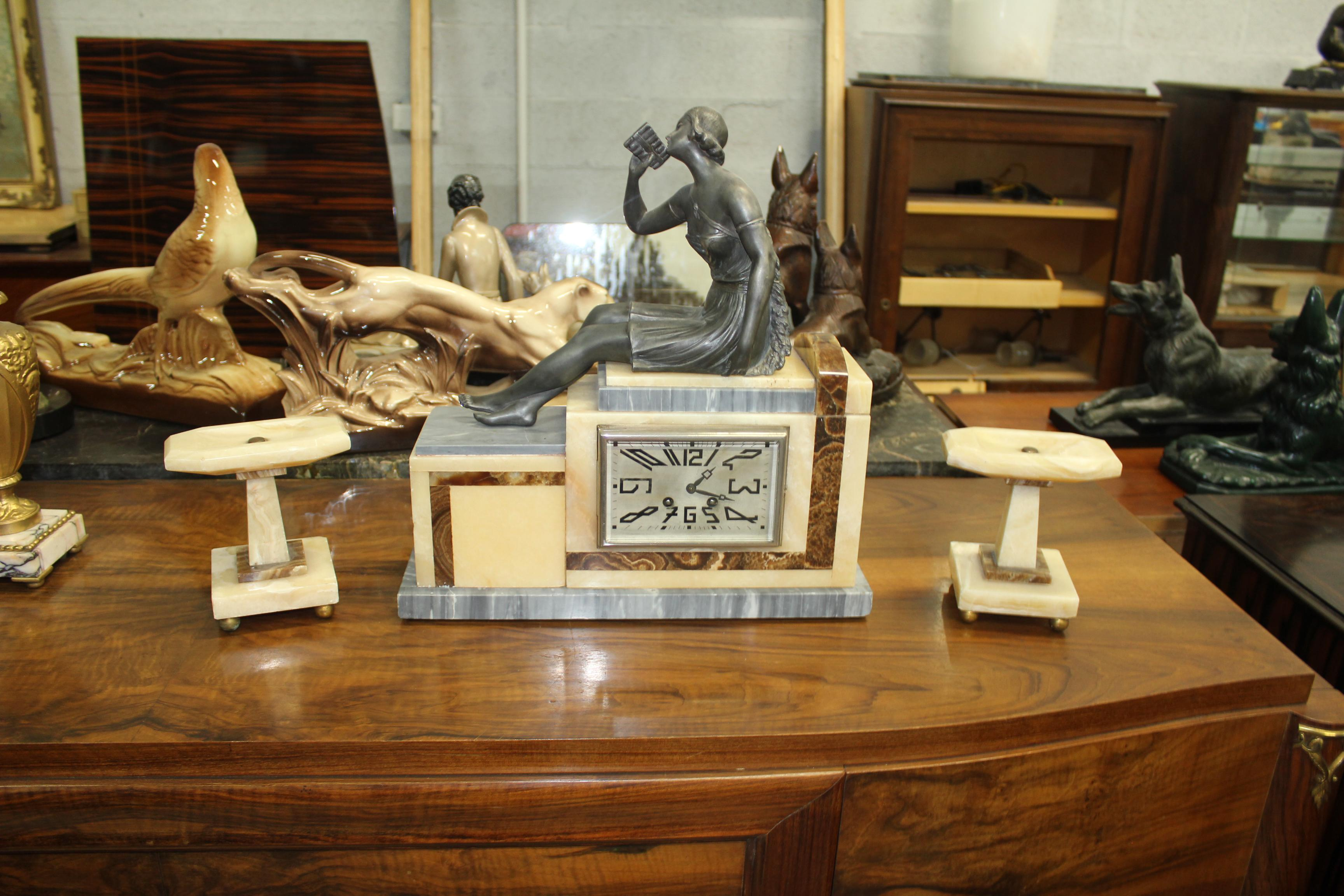 Set Of French Art Deco Piece Clock Garniture Marble Wit