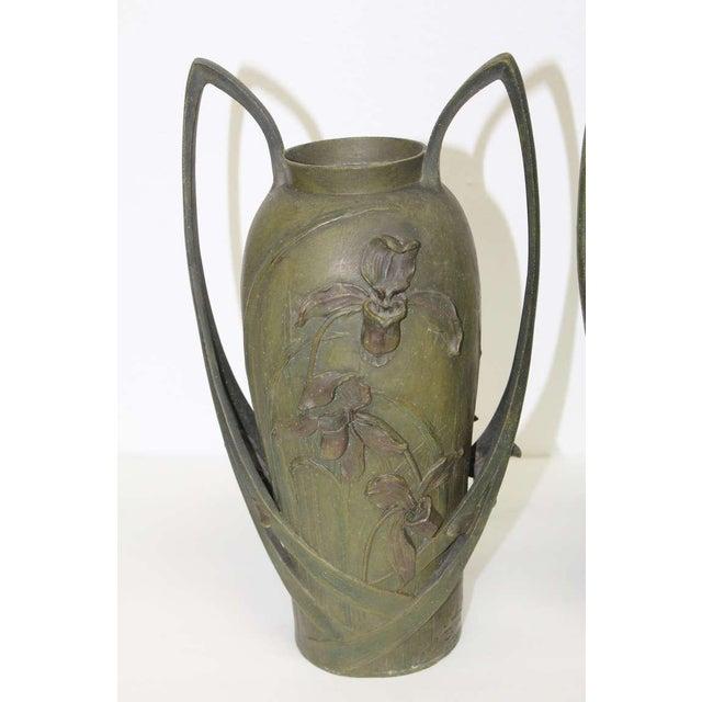 Pair of Art Nouveau Iris Vases by Blanche Poccard De Saintilau, 1902 For Sale - Image 4 of 11