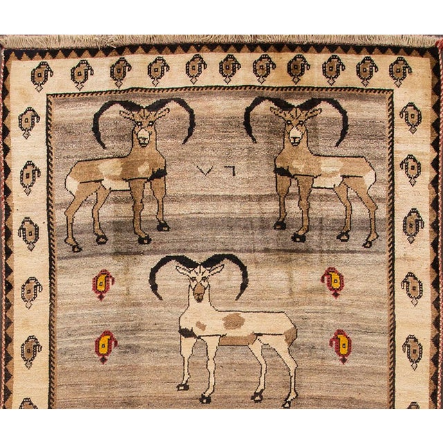 """Traditional Apadana - Vintage Pictorial Gabbeh Rug, 5'3"""" x 9'7"""" For Sale - Image 3 of 5"""