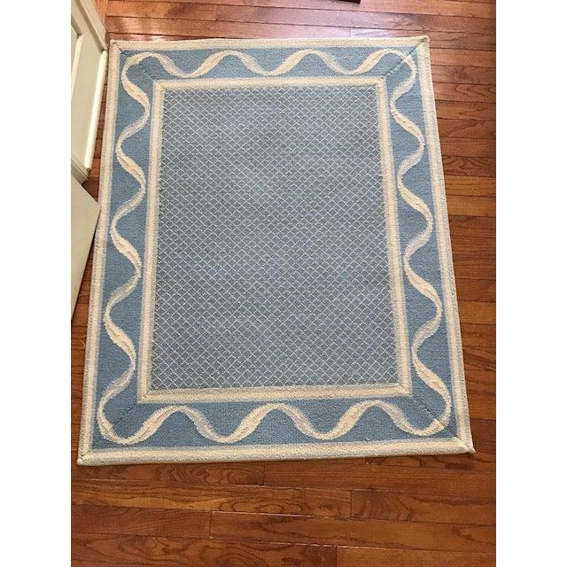 """Stark Carpet Stark Carpet Bordered Rug Blues/Cream 3'9"""" x 3"""" For Sale - Image 4 of 4"""