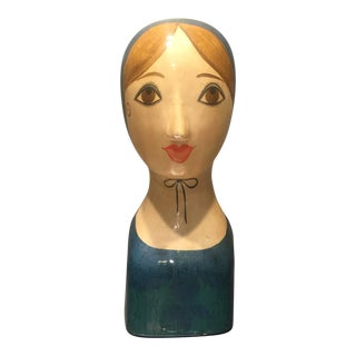 20th Century Folk Art Paper Mache Bust