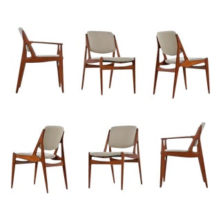 Arne Vodder Ella Dining Chairs Solid Teak Swivel Back Danish Modern For Sale