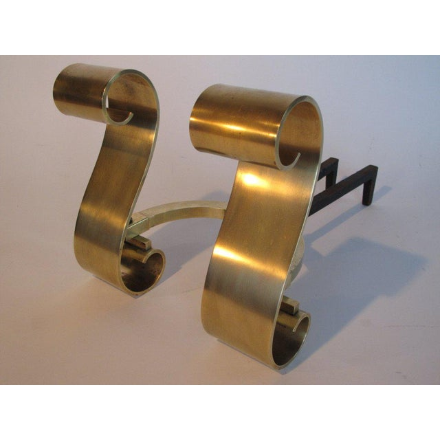 Brass 1950s Modern Decorative Brass Scroll Andirons - a Pair For Sale - Image 7 of 8