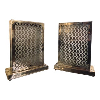 Rectangular White Brass Modern Moroccan Table Lamps - A Pair For Sale