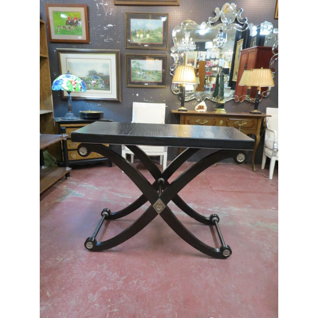 1990s Neoclassical Maitland-Smith X Base Bar Table/Console Table For Sale - Image 9 of 9