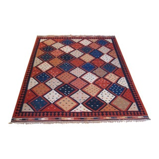 """Hand-Knotted Diamond Pattern Kilim - 7'2"""" x 9'8"""" For Sale"""