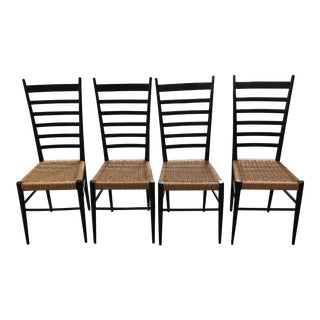 Gio Ponti Style Ladder Back Chairs - Set of 4 For Sale