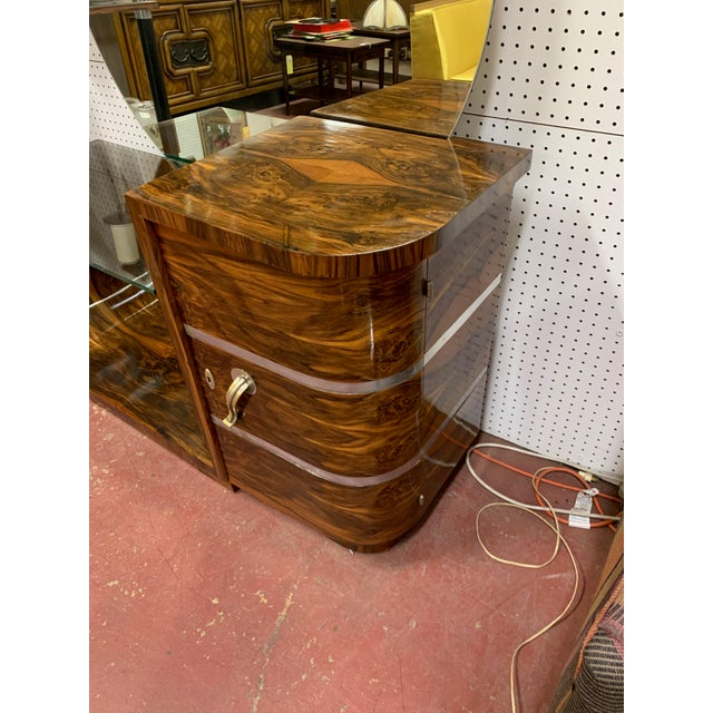 1930s Art Deco Rosewood Vanity With Round Mirror For Sale - Image 4 of 9