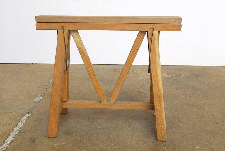 Mid Century Adjustable Height French Oak Sawhorse Desk   Image 2 Of 13