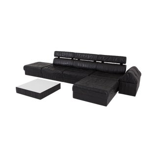Black Leather Sectional and Modular De Sede Switzerland Patchwork Sofa Ds 88 For Sale