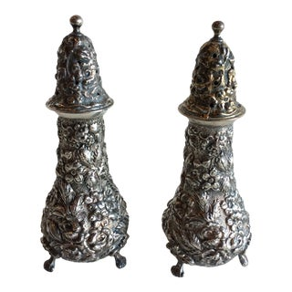 Stieff Rose Sterling Salt and Pepper Shaker Set For Sale
