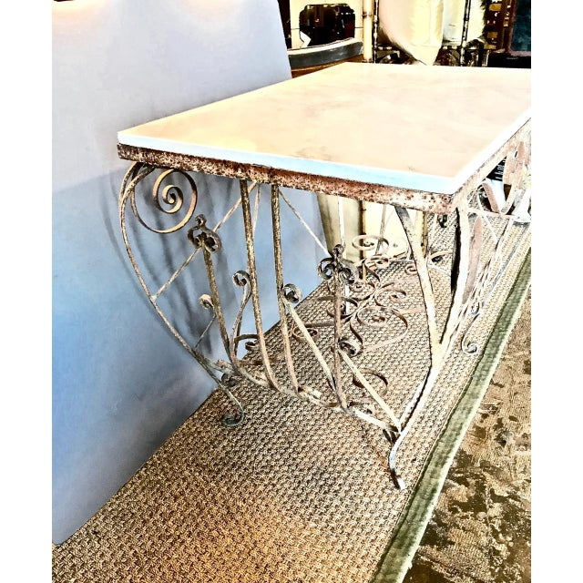 Boho Chic 19th Century French Iron and Marble Butcher's Table For Sale - Image 3 of 9