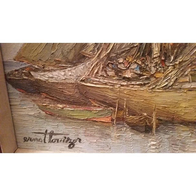 Vintage Haitian Boat Scene Oil Painting by Ernst Louiszor - Image 3 of 6