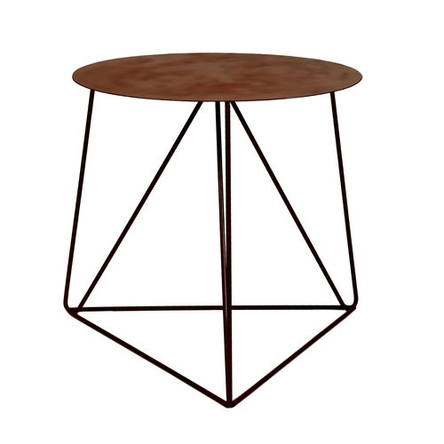 Red Powder Coated Side Table with Metal Top - Image 2 of 2