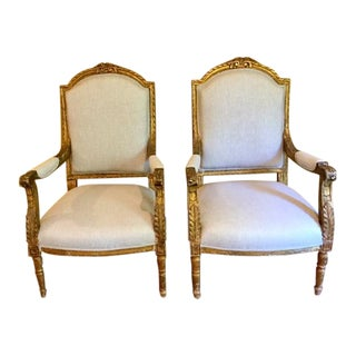 19th Century French Carved Gilt Arm Chairs - a Pair